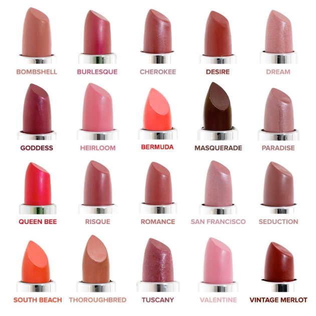 Cruelty-free lipstick by Honeybee Gardens, color palette.